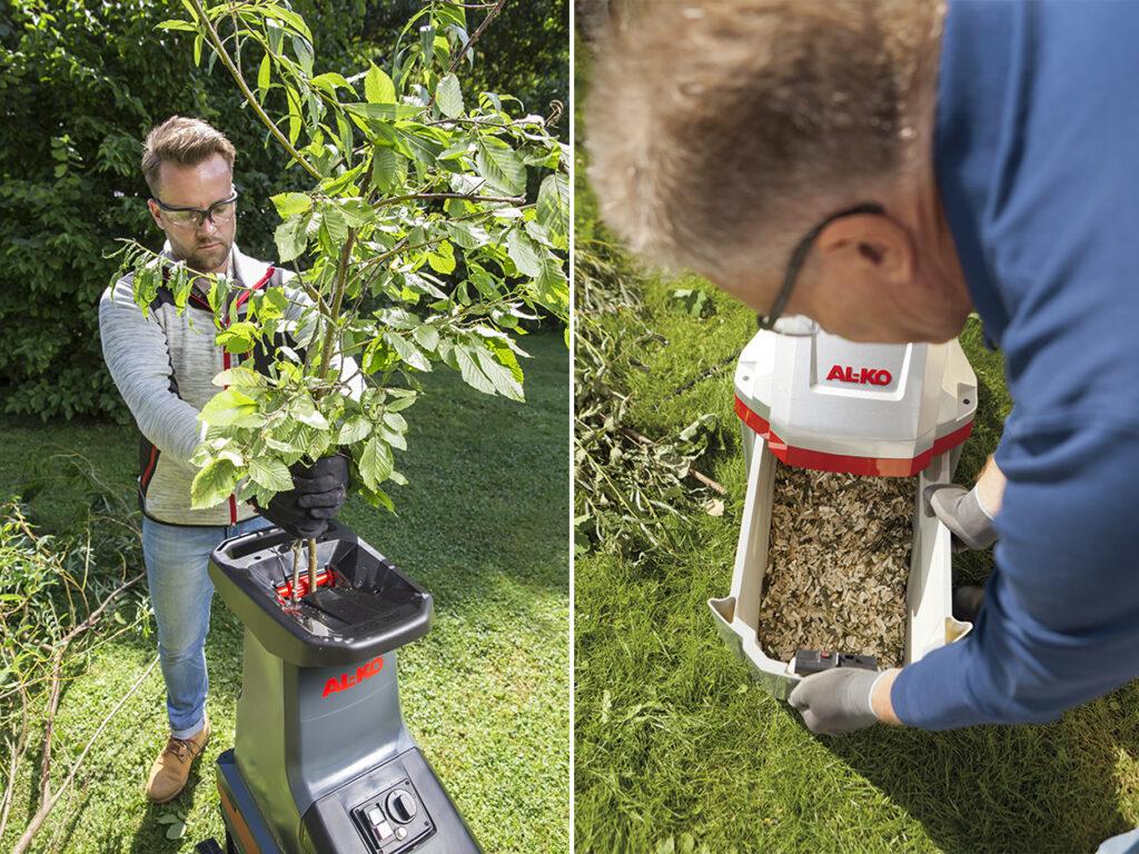 Подрібнювач гілок із ножовою системою більш універсальний і підійде для переробки як свіжої багаторічної деревини, так і зелених бур'янів і листя.