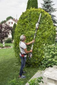 Высокие растения удобно стричь с помощью штанговых инструментов.